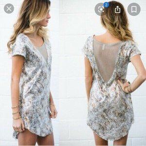 FREE PEOPLE Sequin Shatter Glass Dress V Neck L